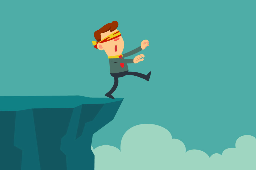 Illustration of blindfolded business person walking off a cliff. Uncertainty in Marketing
