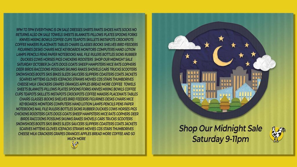 Good and bad Social Media Graphic Examples, left side is a lot of small text that's hard to read. Right side is a simple graphic of a night scene with the words Shop Our Midnight Sale Saturday 9-11pm